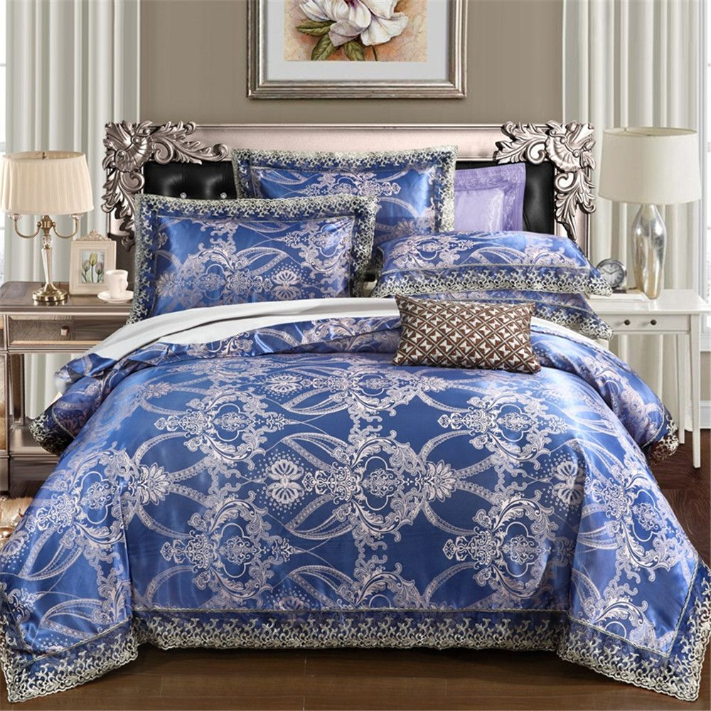 High-quality Blue Gray Jacquard 4pcs bedding sets queen duvet cover sheet pillowcase blend Fabric luxury bedlinen home textile
