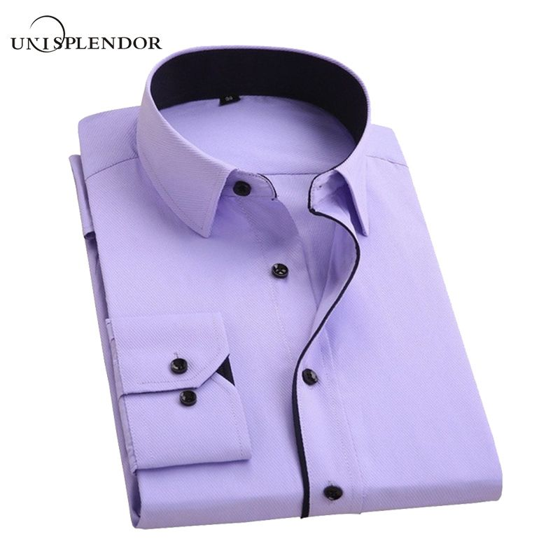 unisplendor Men Dress Shirts 2017 New Man Fashion Long Sleeve Slim Fit High Quality Solid Casual Business Shirt 4XL YN630