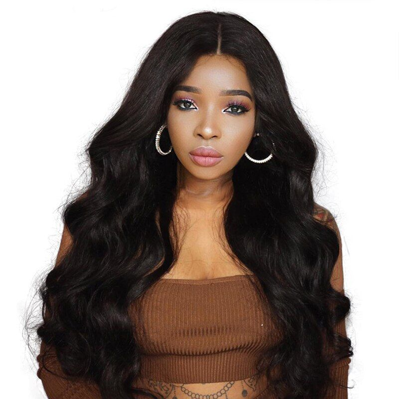 250% Denstiy Lace Front Human Hair Wigs With Baby Hair Pre Plucked Brazilian <font><b>Body</b></font> Wave Human Hair Wigs Remy You May Hair