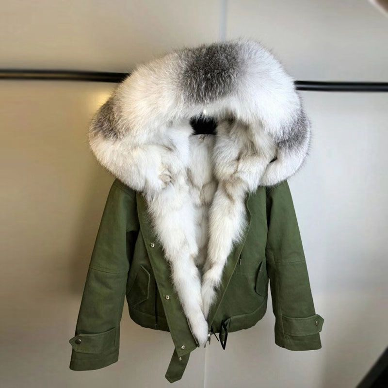 2018 new arrival real fox fur parka fur collar womens genuine fox fur lined coat hoody female winter warm thick outwear jackets