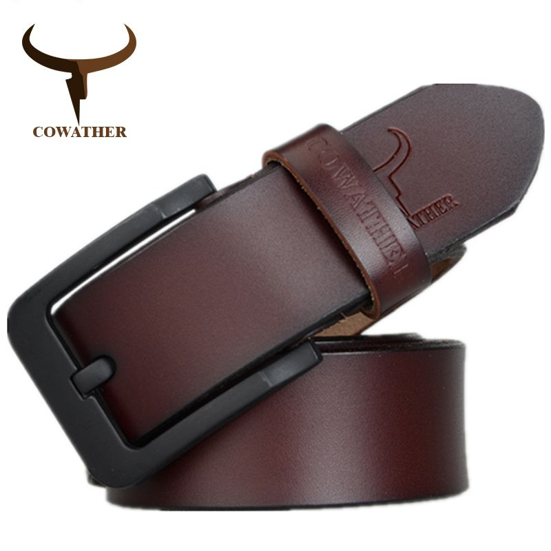 COWATHER male belt for mens high quality cow genuine <font><b>leather</b></font> belts 2017 hot sale strap fashion new jeans Black Buckle XF010