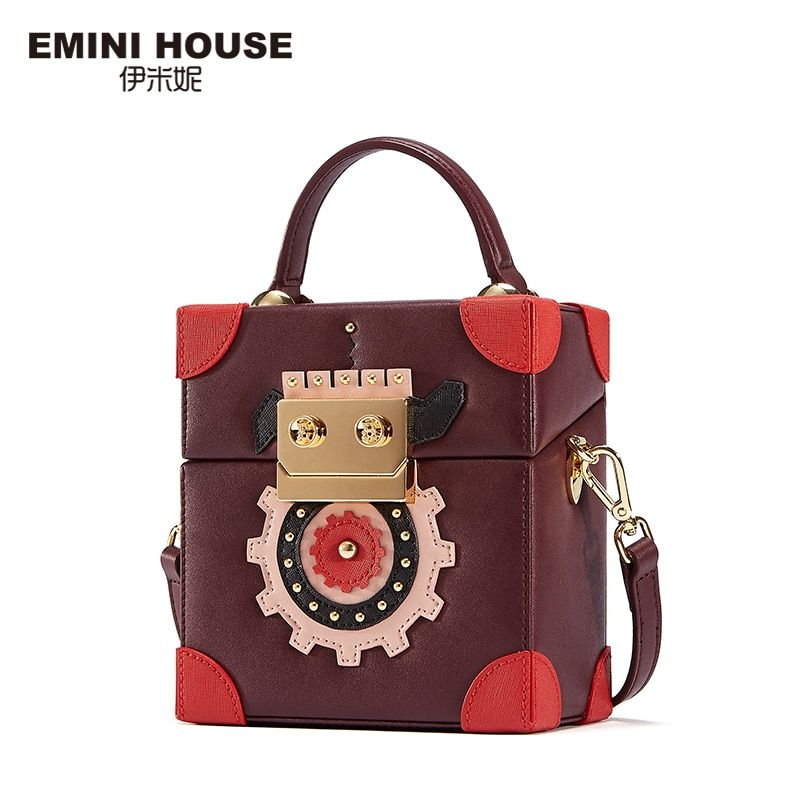 EMINI HOUSE Robot Series Luxury Women Leather Handbags Crossbody Bags for Women Fashion Square High Capacity Shoulder Bags
