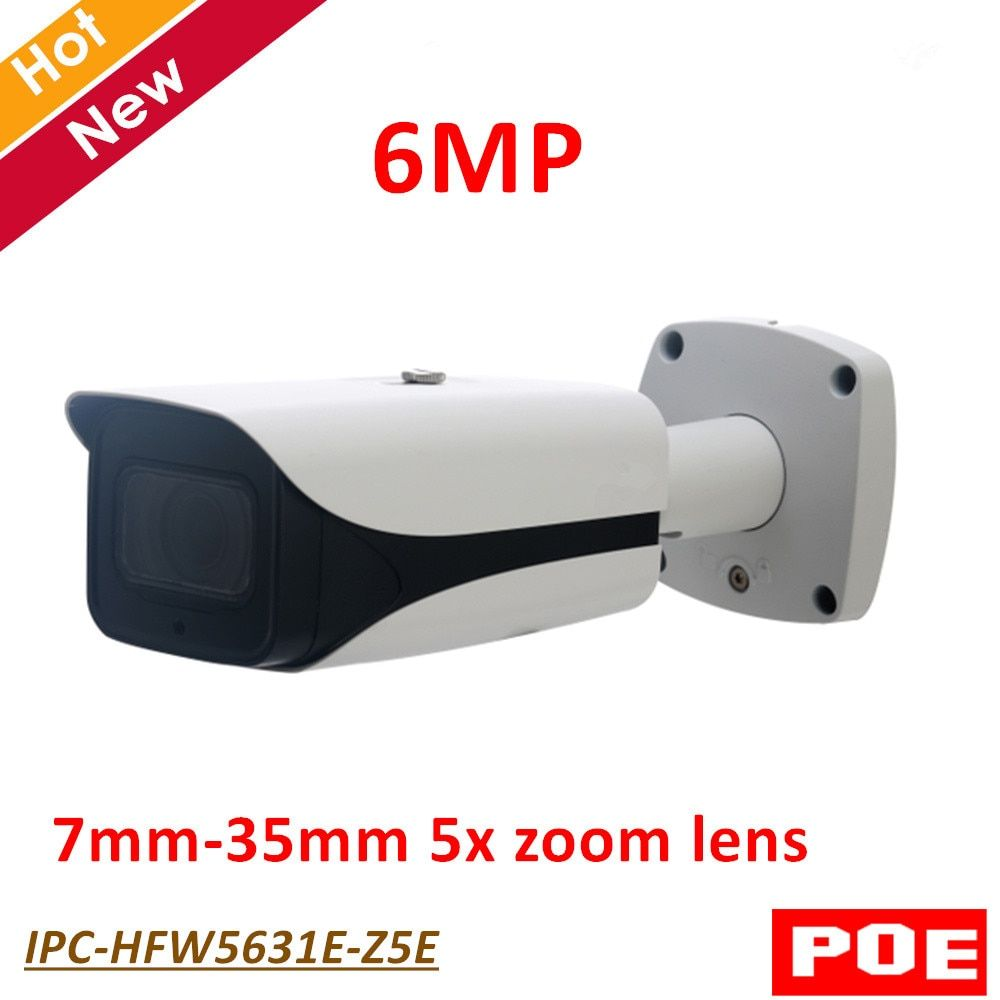 English version DH 6MP IP Camera IPC-HFW5631E-Z5E 6MP Poe IR Bullet Network Survillance Camera 7mm-35mm 5x zoom lens IP67