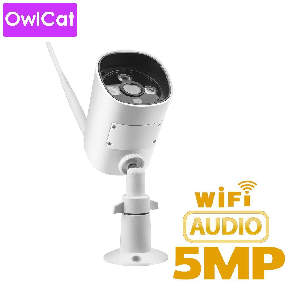 OwlCat caméra IP extérieure balle WIFI carte SD Microphone Audio 2MP 5MP HD Surveillance sans fil CCTV IR P2P vue du téléphone