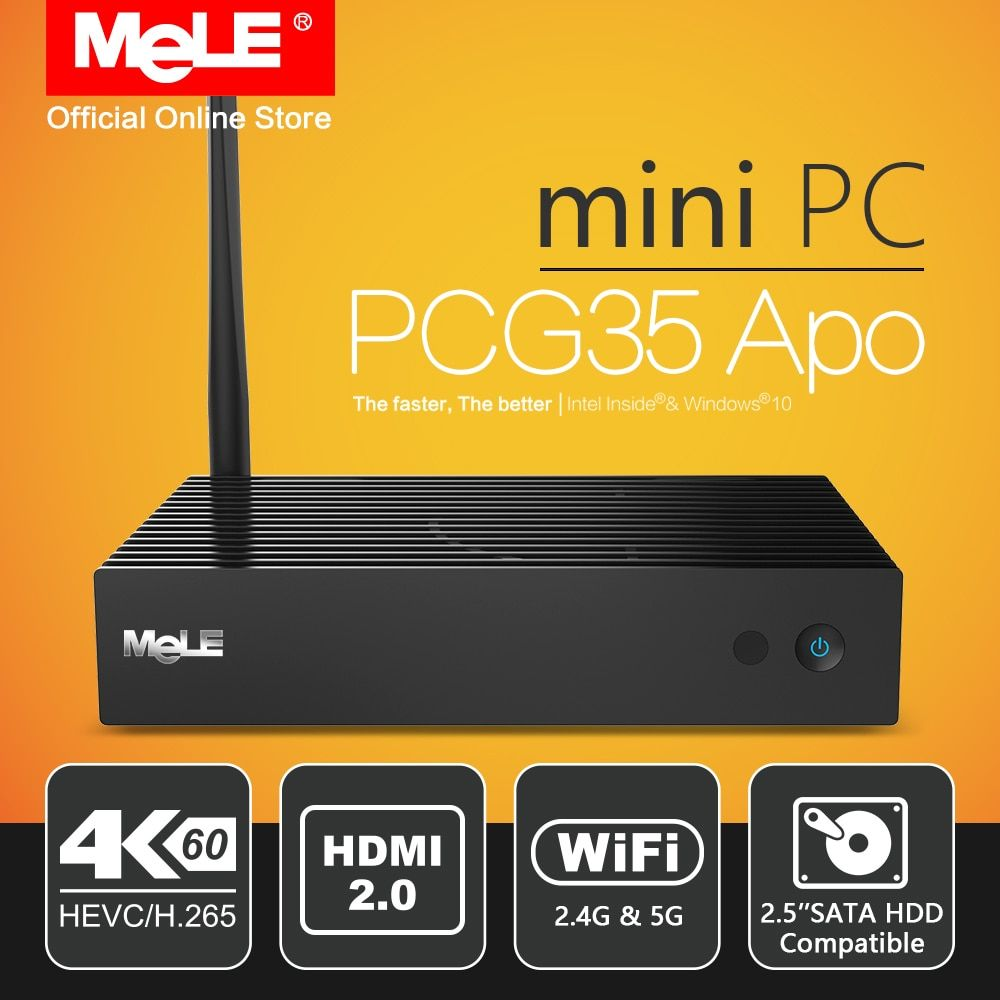 Fanless Windows 10 Mini PC Desktop MeLE PCG35 Apo 4GB 32GB Intel Apollo Lake Celeron J3455 4K HDMI VGA WiFi USB Type C HDD SSD