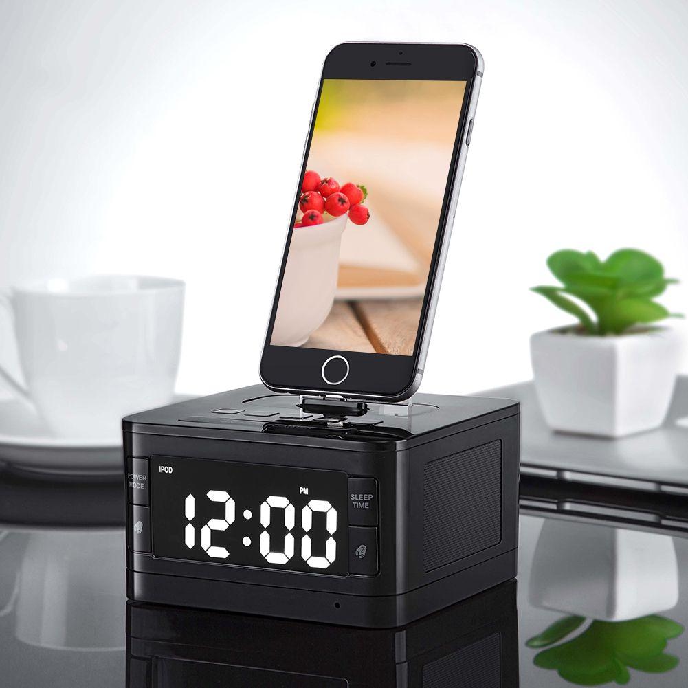 8 Pin Chargeur Radio Reloj Despertador Réveil Portable Audio Musique sans fil Bluetooth Haut-Parleur pour iPhone SE 5S 5C 6 6 s Plus
