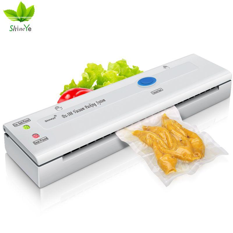 ShineYe DZ-108 220 V/110 V ménage alimentaire scelleur sous vide Machine d'emballage Mini automatique emballeur sous vide avec 10 pièces sacs sous vide