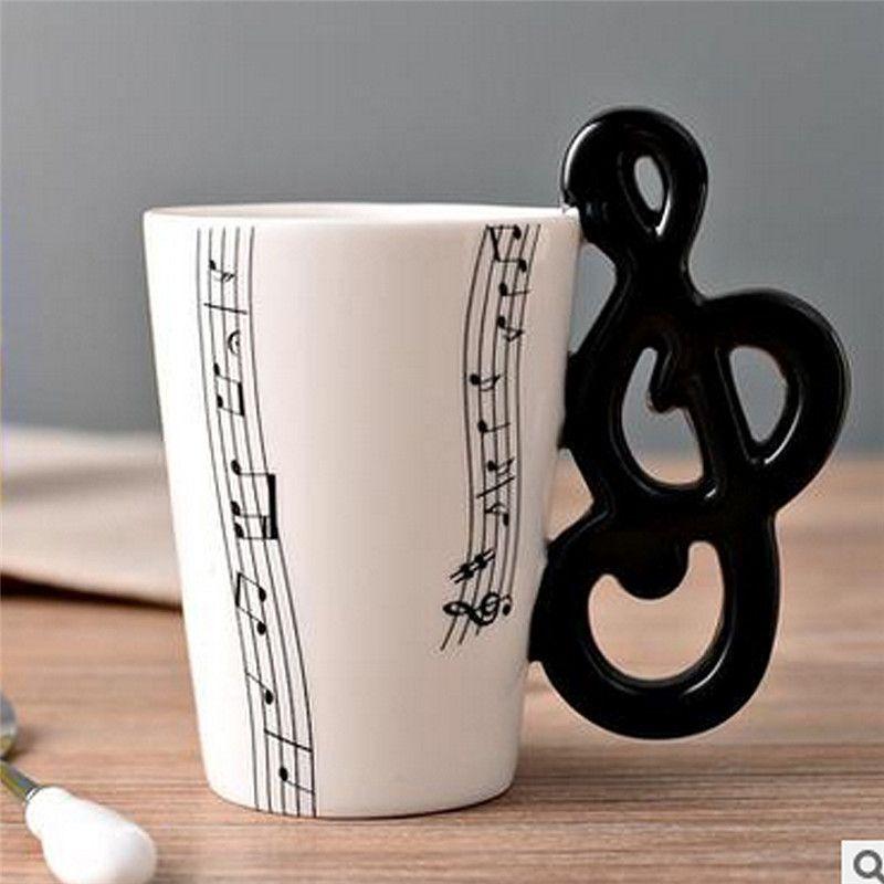 Neuf de Haute Qualité En Céramique Tasse Personnalité Musique Note Lait Jus De Citron Tasse Café Thé Tasse Bureau À Domicile Verres Cadeau Unique