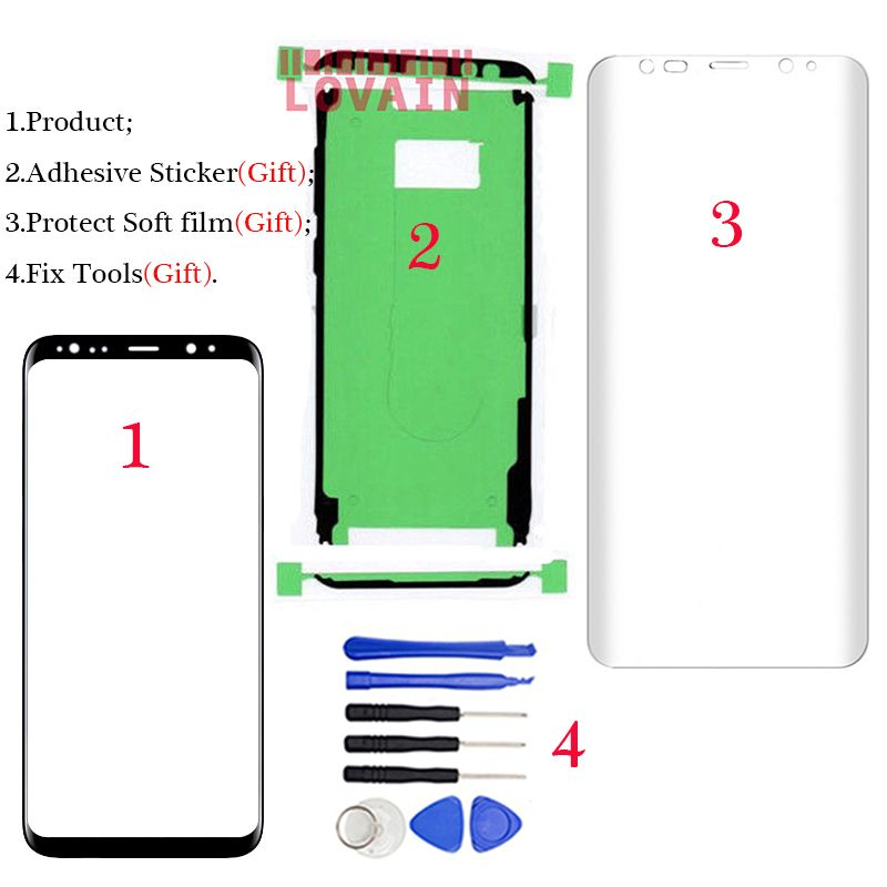 LOVAIN For Samsung Galaxy S8 G950 G955 S9 G960 G965 Plus Front Glass Touch Screen Lens Cover LCD Outer Panel+Tool+Full Adhesive