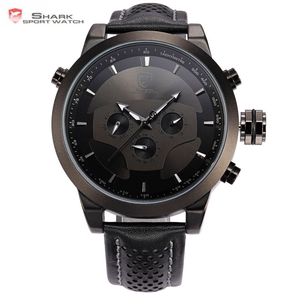 Requiem Shark Sport Watch 6 Hands Calendar Dual Time Zone Black Dashboard Leather Band 3ATM Waterproof Men Military Clock /SH210