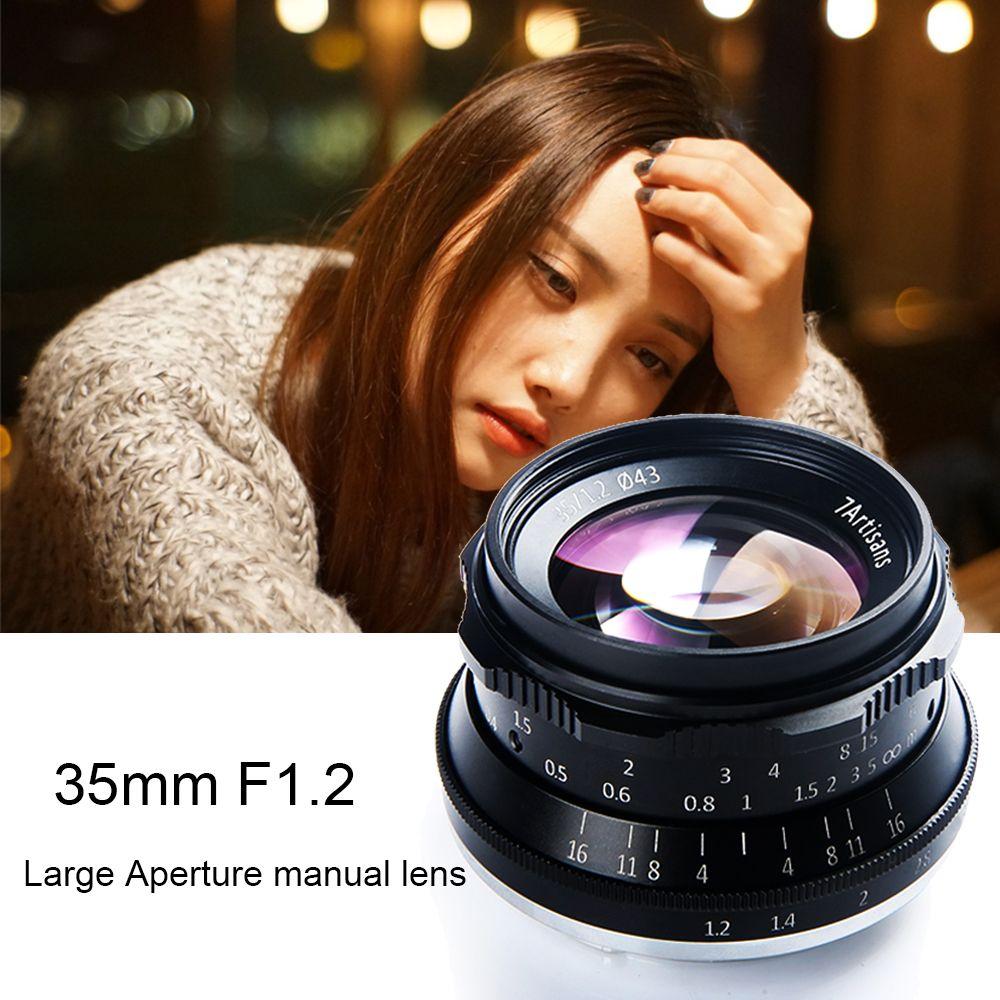 7 handwerker 35mm F1.2 Manuelle Prime Objektiv für Sony E-mount A7R A7S A6500 A7/Fuji X-T2 x-Pro2/Canon EOS-M M6/M4/3 Spiegellose Kamera
