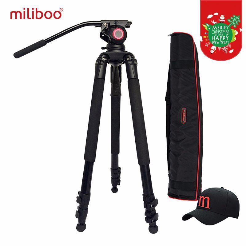 Miliboo MTT701A Tragbare Aluminium stativ für Professionelle Camcorder/Video Kamera/DSLR Stativ, mit Hydraulische Ball Kopf