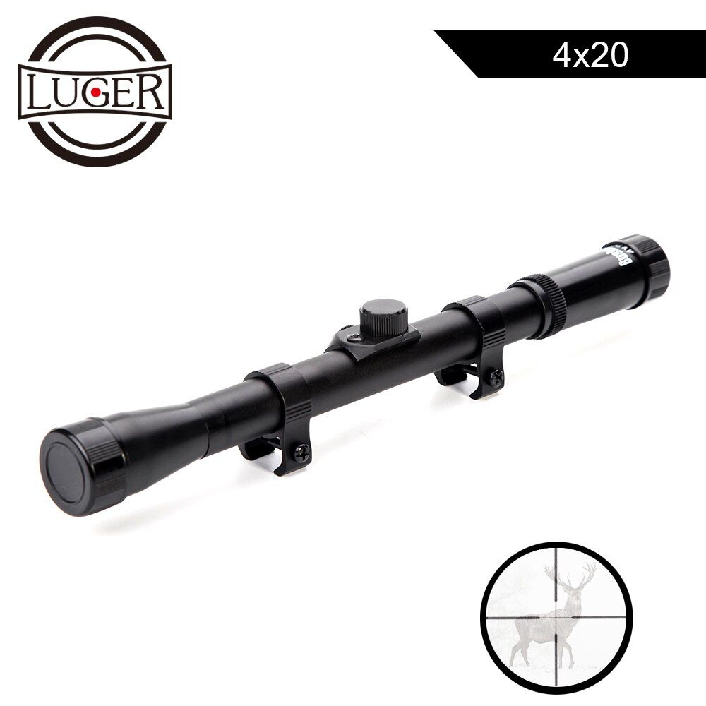 LUGER 4x20 Hunting Riflescopes Tactical Optics Reflex Sight Crosshair Scope With 11mm Rail Mount For.22 Caliber Air Gun