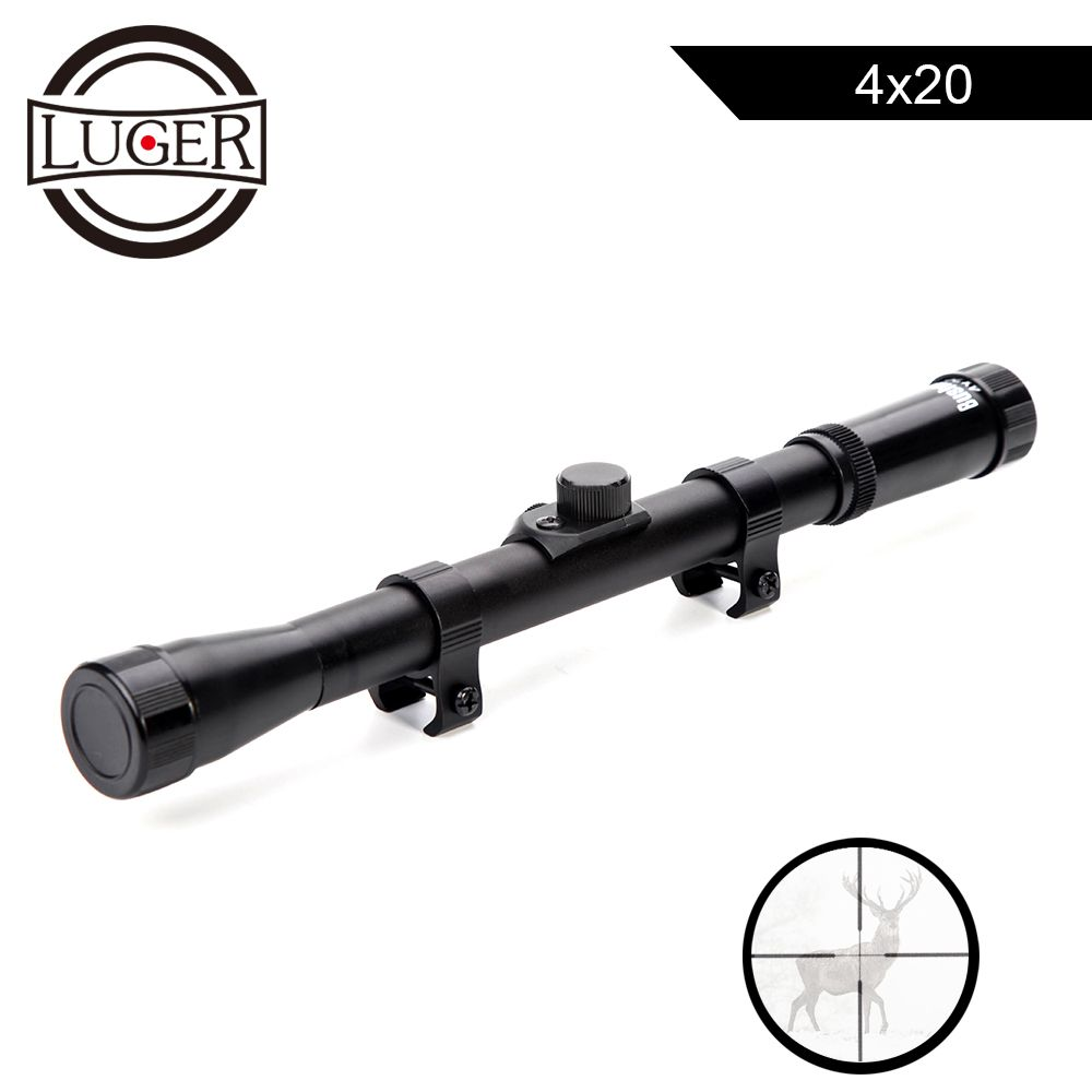 Lunette de chasse LUGER 4x20 optique tactique lunette de visée réflexe avec support de Rail de 11mm pour canon pneumatique de calibre 22