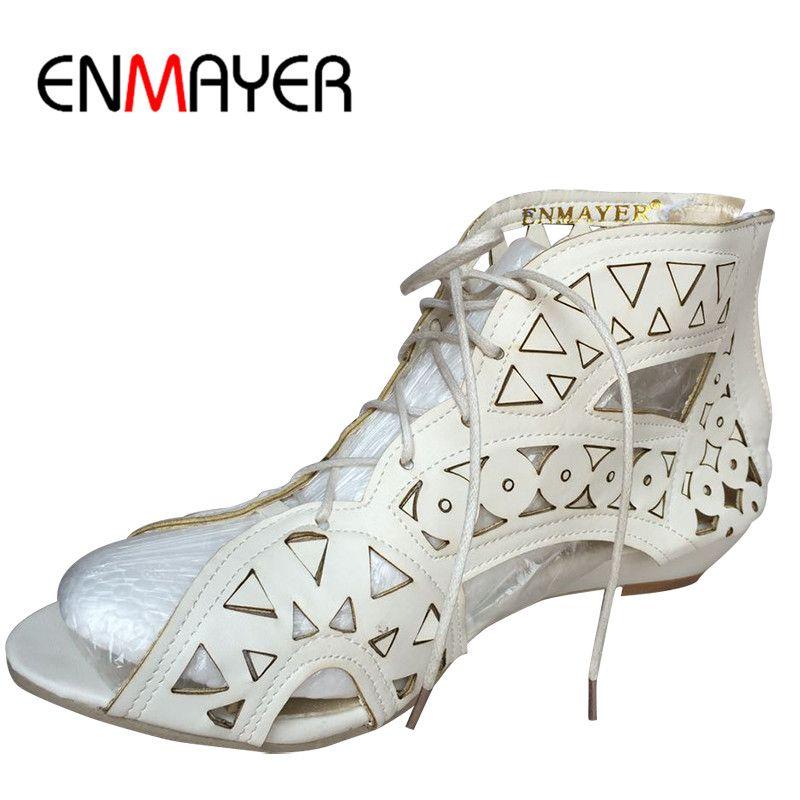 ENMAYER grande taille 34-43 mode découpes à lacets sandales bout ouvert compensées basses chaussures d'été bohème chaussures de plage femme chaussures blanches