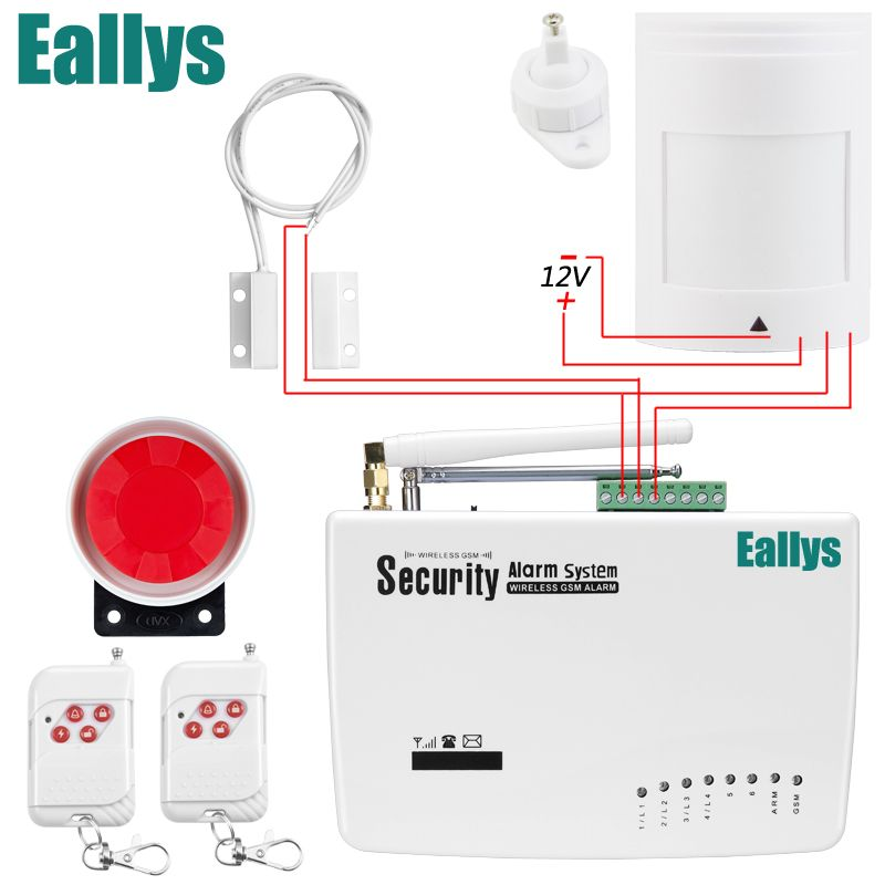 Free shipping GSM Alarm System For Home security System with Wired PIR/Door sensor Dual Antenna burglar alarm