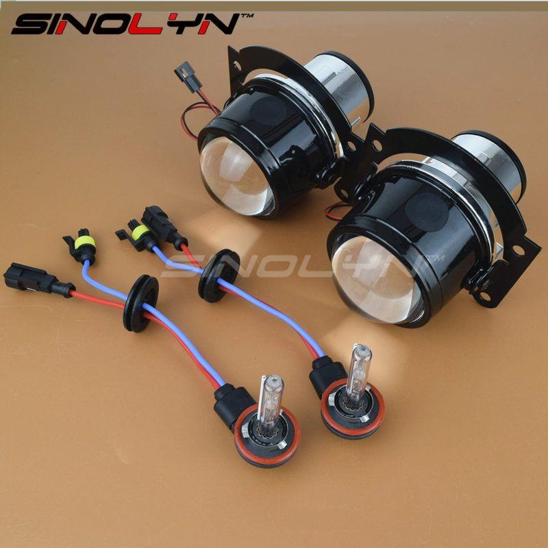 SINOLYN HID Bi xenon Fog Lights Projector Lens Driving Lamp H11 High Low For Car Motorcycle Retrofit DIY Universal Waterproof