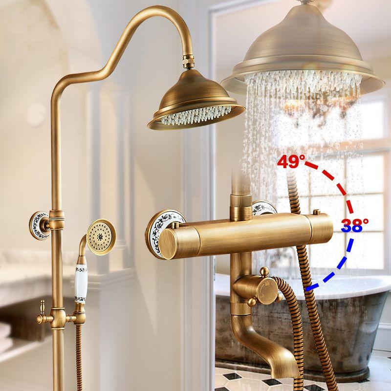 Dusche Armaturen Wand Montiert Thermostat Dusche Mischbatterie Antike Messing Dual Griff Mit Slide Bar Dusche Für Bad AST9507