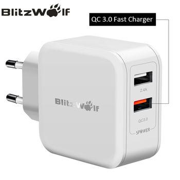 Blitzwolf qc3.0 USB Зарядное устройство Адаптер дорожный стены Зарядное устройство мобильный телефон быстрая Зарядное устройство для iPhone X 8 6S Plus дл...