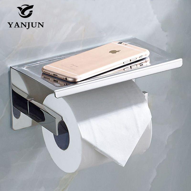 Yanjun porte-papier hygiénique de papier sanitaire avec étagère de téléphone auto-adhésif rouleau distributeur salle de bains accessoires YJ-8820