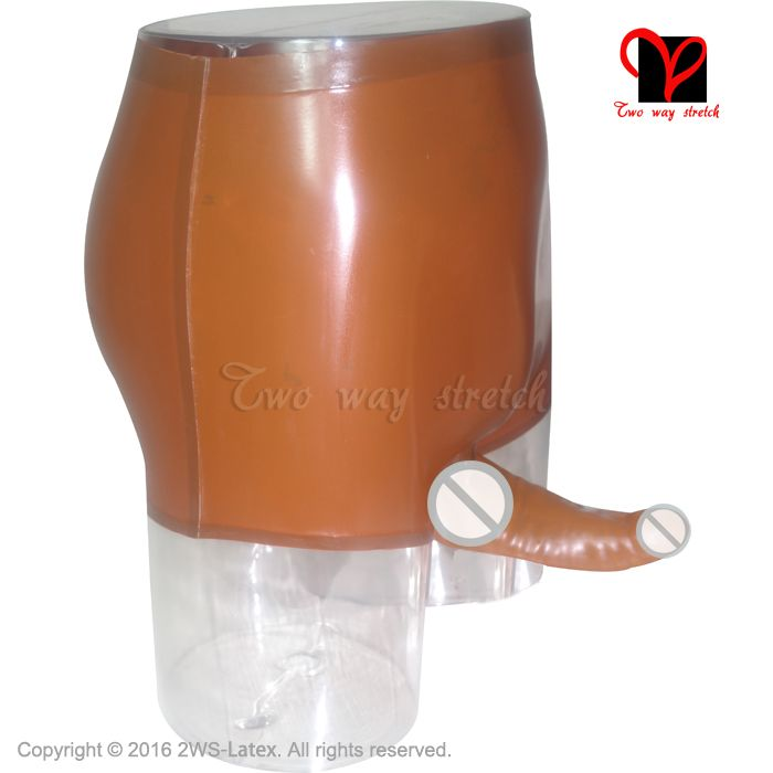 Brown Sexy Latex Underwear mold Penis Sheath Condom Shorts Mid waist Rubber pants Underpants KZ-031 XXL