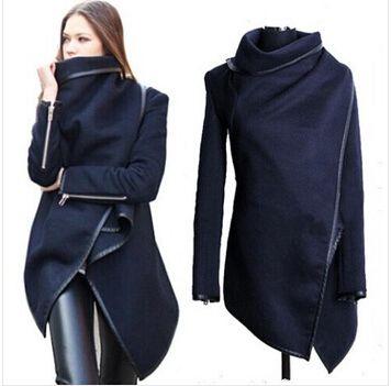 wholesale 2017 Black newly listed <font><b>Autumn</b></font> Spring Coat Womens Overcoat Temperament Slim Trench Design women Wool & Blends S-XXL