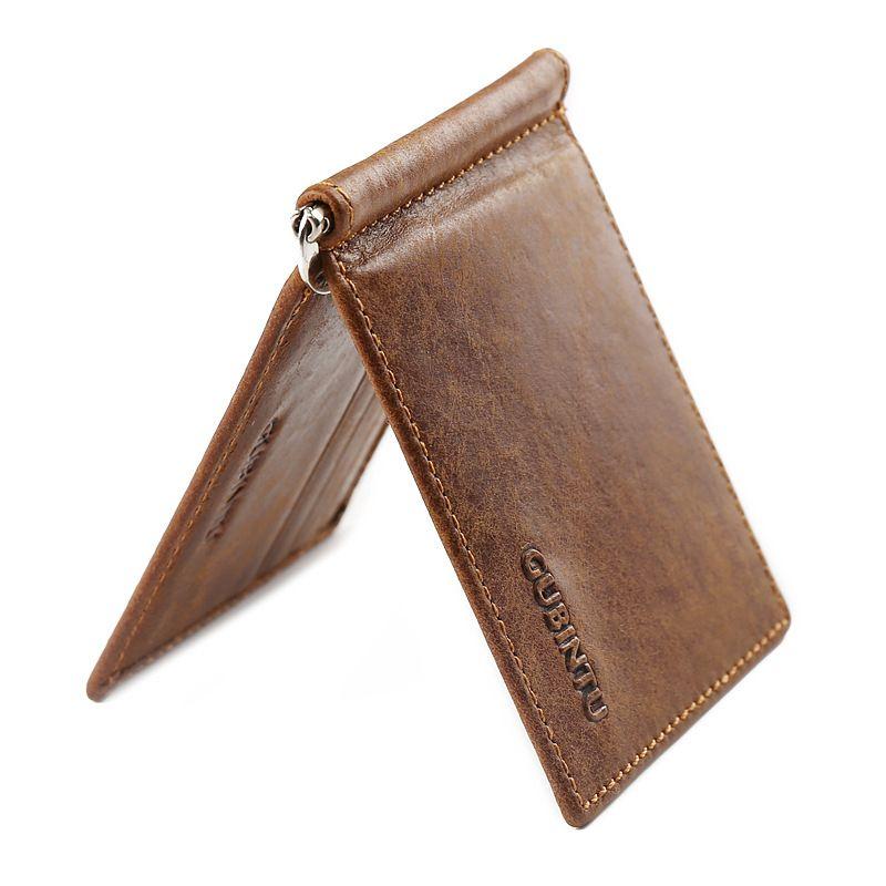 GUBINTU Vintage Mini Hommes de cuir véritable clip de l'argent portefeuille avec pince Petit sac à main mince 6 carte slots pour homme