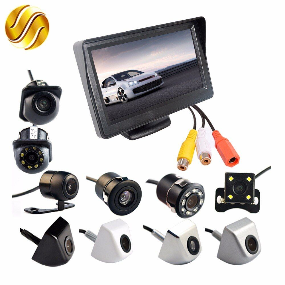 2In1 Car Parking System Kit 4.3 TFT LCD Color Monitor HD Display Screen + Rear View Camera Waterproof Backup