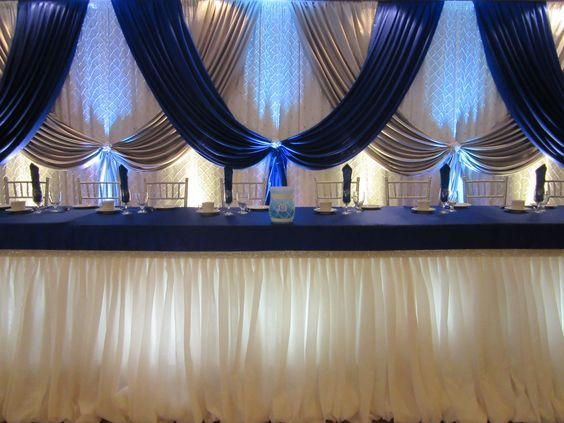 10ft x 20ft royal blue with silver Wedding backdrop stage decoration background veil wedding decoration