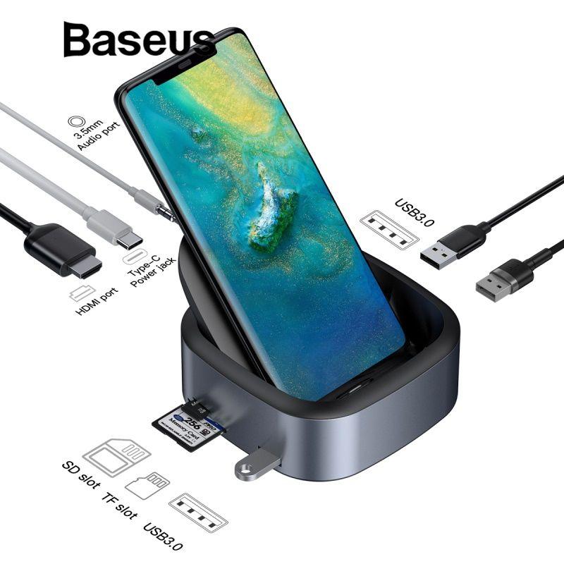 Baseus Typ-C Telefon HUB Multi USB C Docking Station USB Tpye C HUB HDMI Dock mit Power Adapter für Huawei p20 pro PC Zubehör