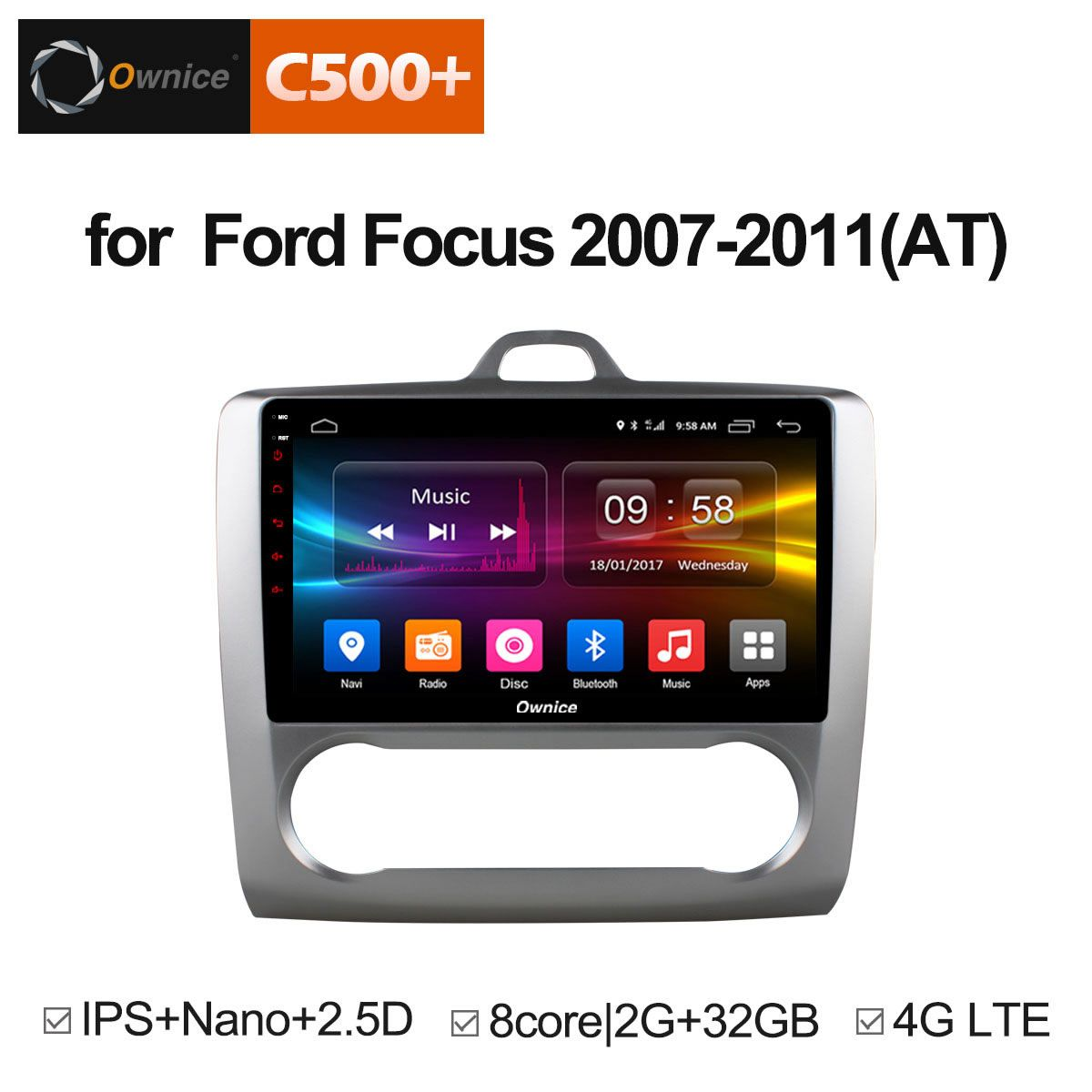 Ownice C500+ G10 Octa Core Android Car Radio DVD player GPS Navi 2G/32G Support 4G LTE For Ford Focus 2007 2008 2009 2010 2011