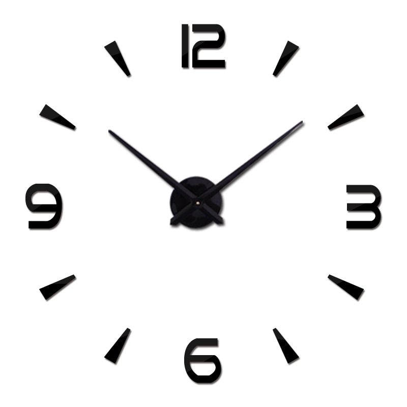 Hot nouvelle horloge murale Design moderne horloges Quartz montre aiguille acrylique miroir autocollant bricolage 3d autocollants salon livraison gratuite
