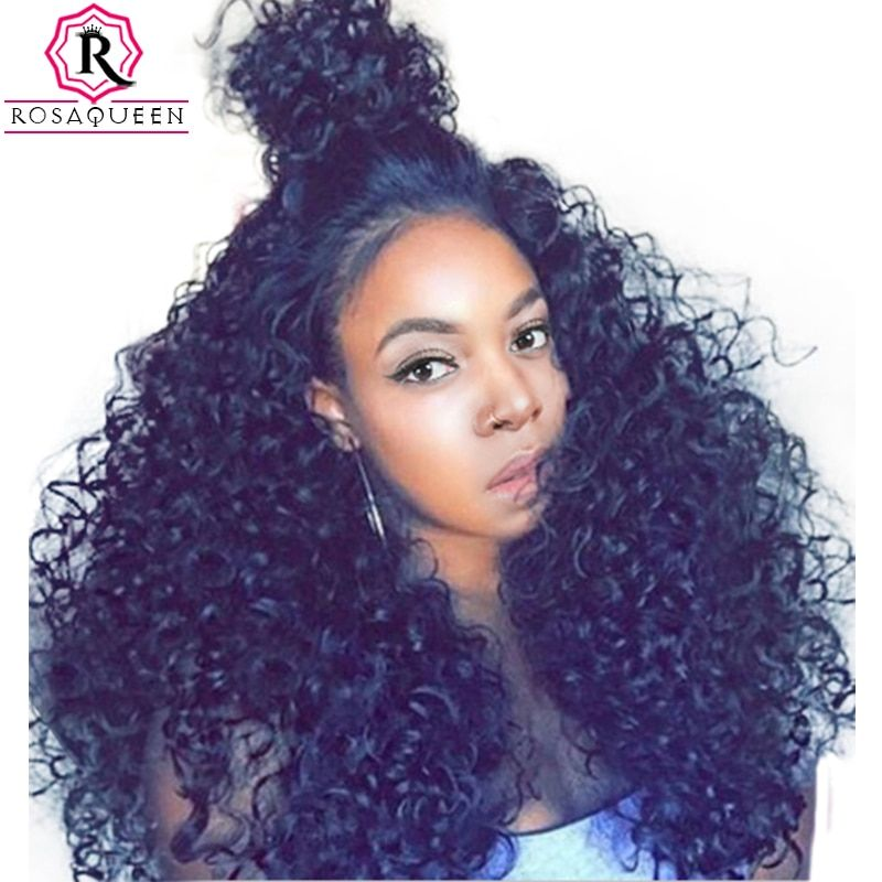 250% Density Lace Front Human Hair Wigs For Black Women Brazilian Curly Hair Lace Wig Pre Plucked Full Ends Rosa Queen Remy