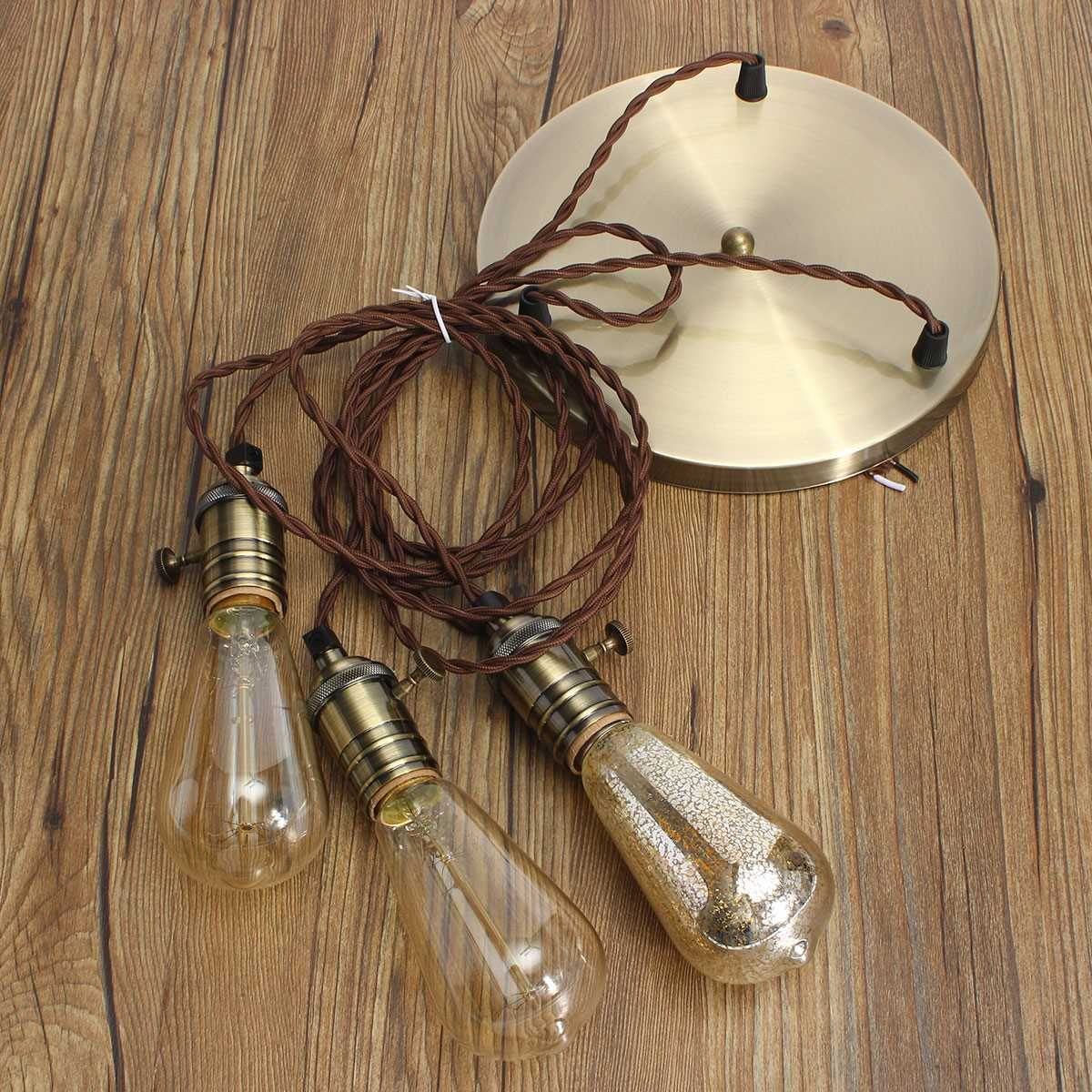 Lamp Base E27 Retro Vintage Industrial Loft Pendant Ceiling Edison Light Lamp Base Holder Hanging Lampshade Socket With Switch