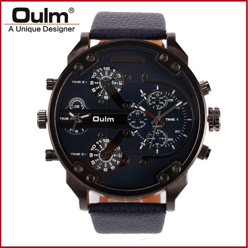 Oulm Design Origin Brand Large Big Dial Unique Mens Watches Male Quartz Wristwatch Two Time Zone Luxury Clock