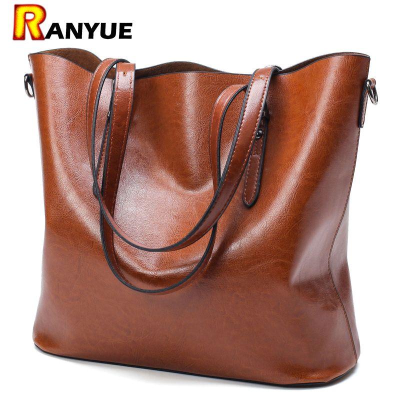 Fashion Women Handbag PU Oil Wax Leather Women Bag Large Capacity Tote Bag Big <font><b>Ladies</b></font> Shoulder Bags Famous Brand Bolsas Feminina
