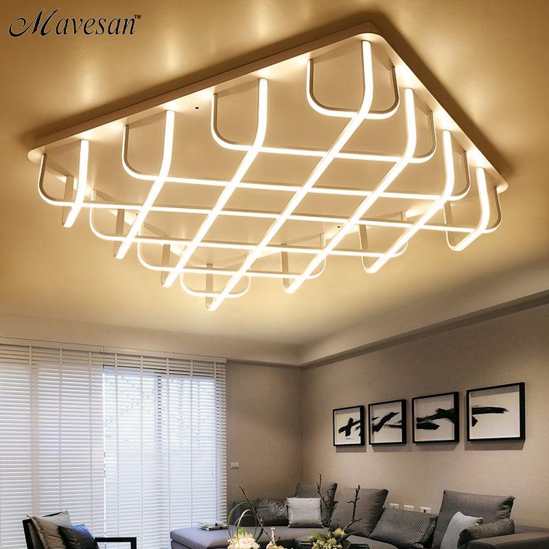 Neue Acryl moderne led-deckenleuchten für wohnzimmer Schlafzimmer Aluminium Weiß AC85-265V Hause Decke Lampe luminarias para sa
