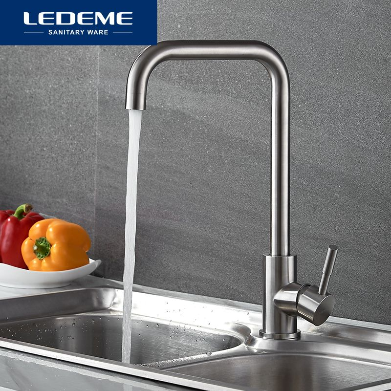LEDEME 360 Single Handle Single Hole Kitchen Faucet Mixers Sink Tap <font><b>Wall</b></font> Kitchen Faucet Modern Hot and Cold Water L4998-4