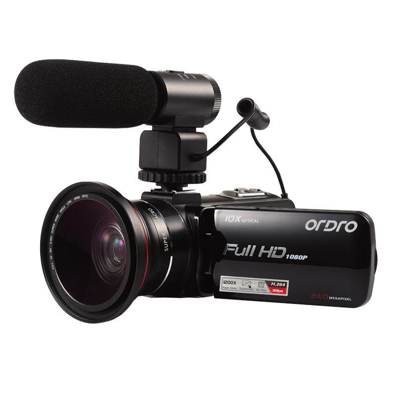 ORDRO HDV-Z82 3.0 Inch TFT LCD Touch Screen 1080P HD Camcorder Hot Shoe 24MP 10XAnti-shake CMOS Optical Zoom Camera