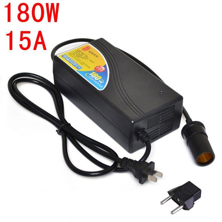 180W Power converter ac 220v(100~250v) input dc 12V 15A output adapter car power supply cigarette lighter plug