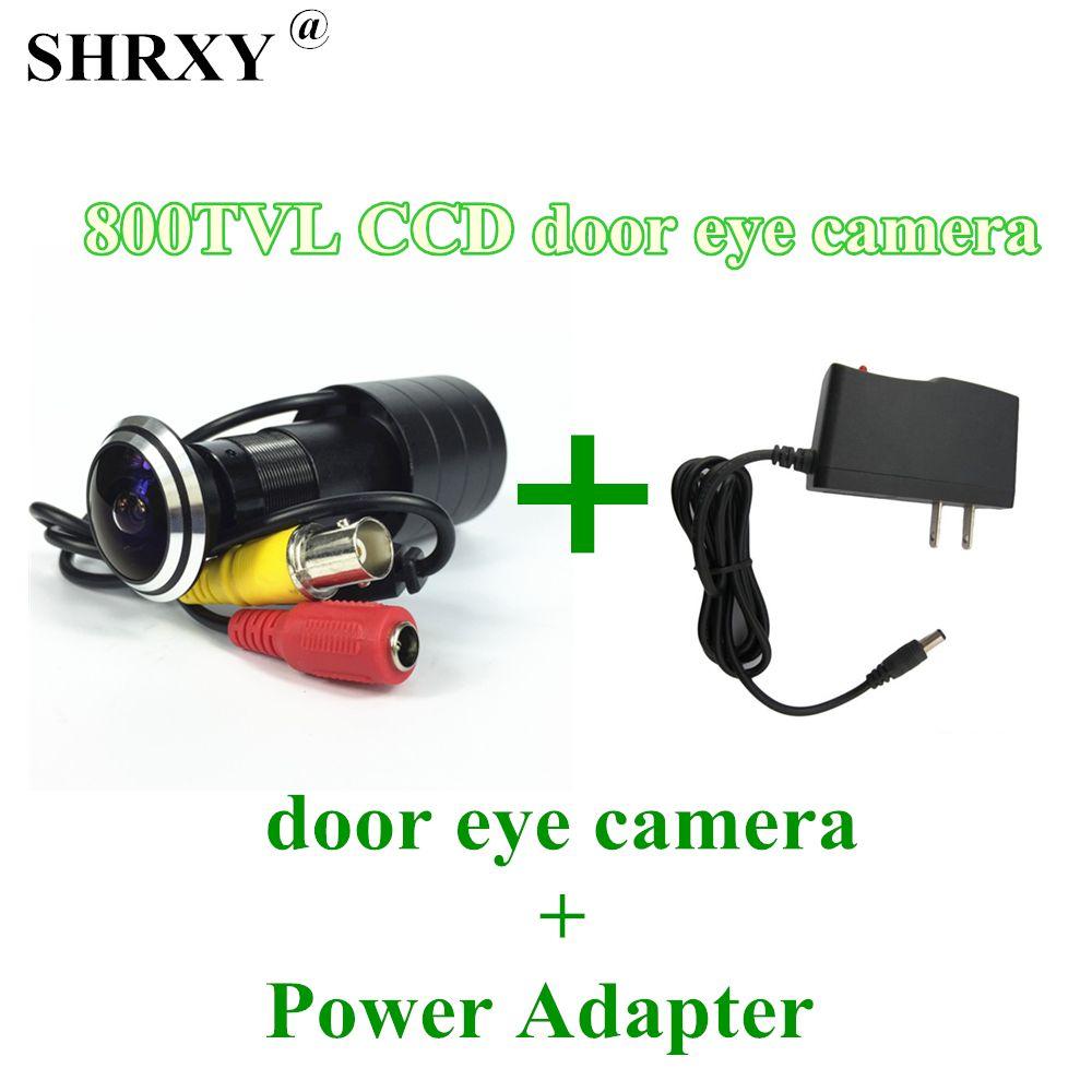SHRXY HOTsell Grand Angle 800tvl CCD Filaire Mini Porte Eye trou Vidéo Caméra Couleur DOORVIEW mini CCTV Caméra avec 12V1A adaptateur