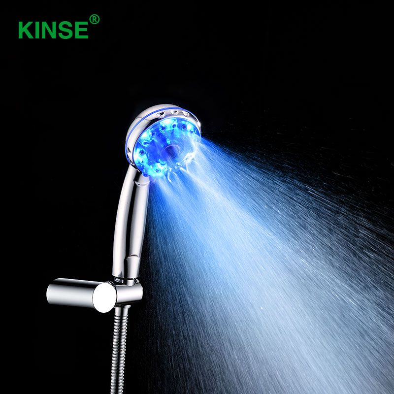 Kinse Высокое качество ABS Пластик ручной светодиодный Ванная комната Насадки для душа с ГЭС Мощность поколения светодиодный душ