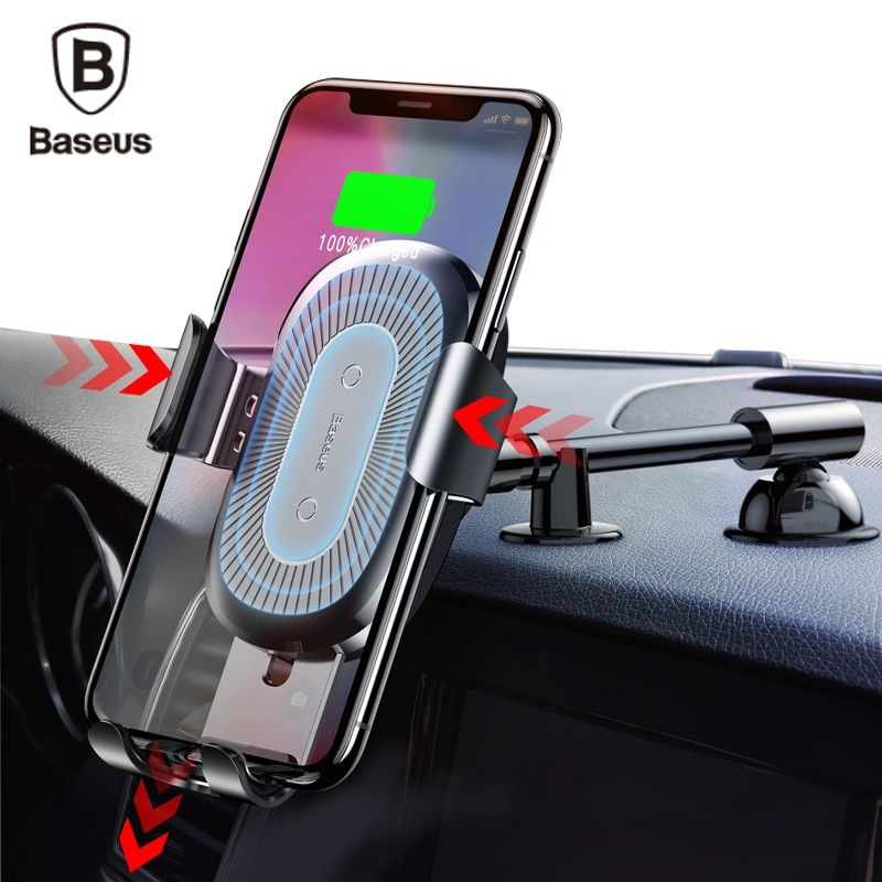 Baseus QI Wireless Charger Car Phone Holder for iPhone 8 Samsung S9 Plus Car Mount Fast Wireless Charging Charger Phone Stand