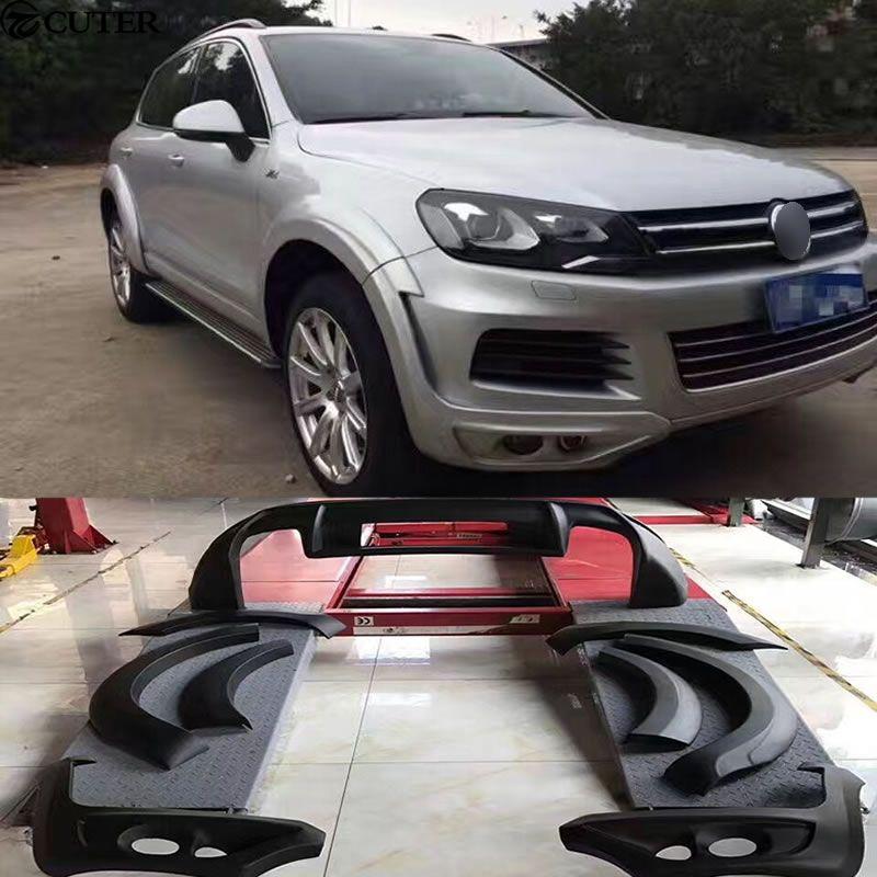 JE stil Auto body kit PU Wide body kit heckdiffusor Spoiler Auto rad augenbrauen für Volkswagen VW Touareg 11-13