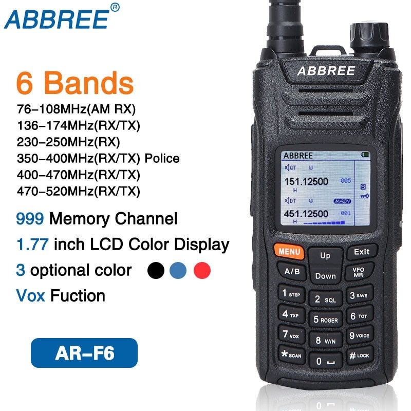 ABBREE AR-F6 6 Bands Dual Display Dual Standby 999CH Multi-functional VOX DTMF SOS LCD Color Display Walkie Talkie Ham Radio