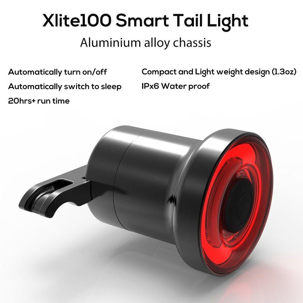 Xlite100 Smart Bike Bicycle Taillight Auto Start/Stop Brake Sensing IPx6 Waterproof USB Rechargeable Led Cycling Tail Light