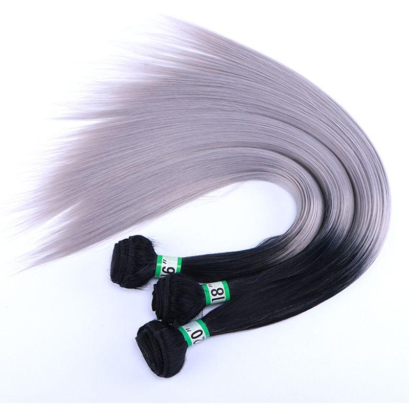 ELEGANT MUSES 1B/Grey Synthetic Hair Extensions Bundles 70g/Pack Straight Hair Bundles 16