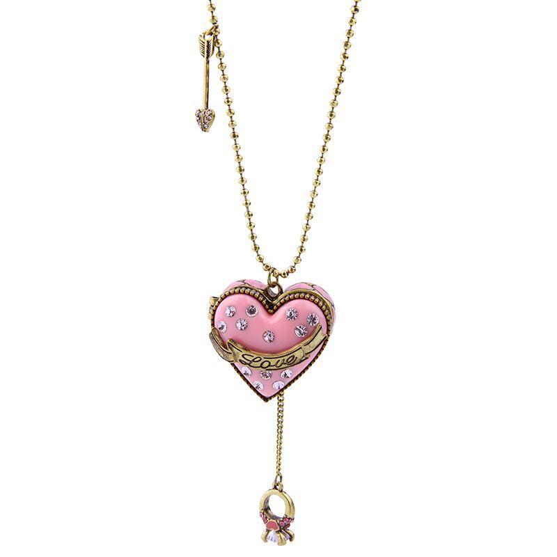 Mode Femmes Bijoux Rose Doux Longues Perles Chaîne Ouverte Pendentif Coeur Collier Vintage Flèche Choker Pull Collier Cadeau
