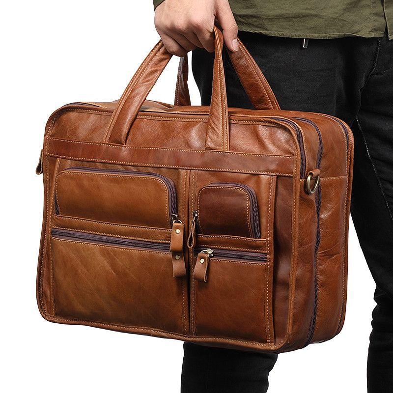 Luxury European Brand Designer Natural Genuine Leather Men Handbag Vintage Oil Wax Cow Leather Briefcase 3 Layers men Bags