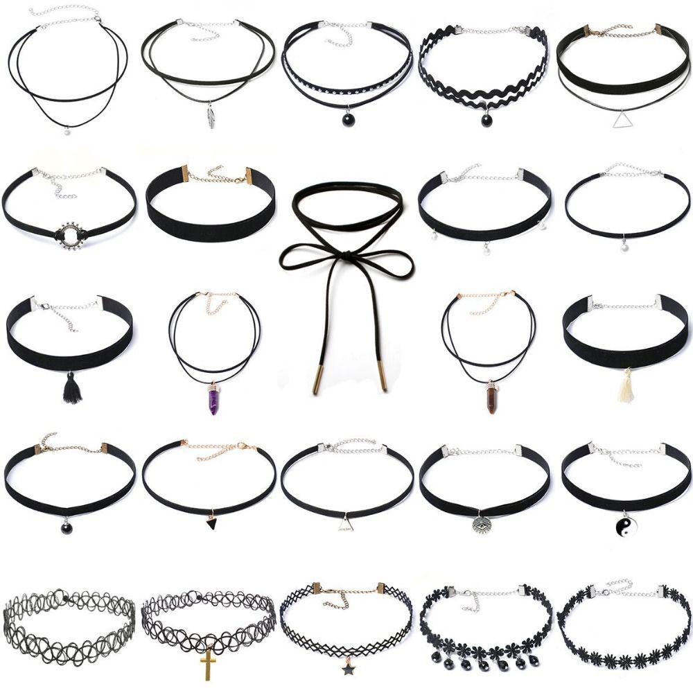 24 pièces Multi Styles collier ras du cou bohême mode classique pendentif collier bijoux cristal/alliage/velours cou collier pour les femmes